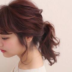 ゆるふわ 簡単ヘアアレンジ 大人かわいい セミロング ヘアスタイルや髪型の写真・画像