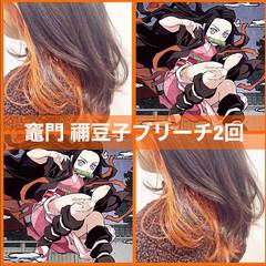 オレンジ アプリコットオレンジ インナーカラーオレンジ ヘアカラー ヘアスタイルや髪型の写真・画像