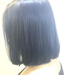 ボブ ブルー 外国人風 ネイビー ヘアスタイルや髪型の写真・画像