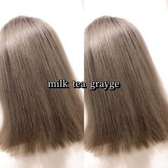 ヘアカラー ミルクティーベージュ ミディアム 大人可愛い ヘアスタイルや髪型の写真・画像