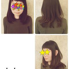 ミディアム ベビーバング 前髪あり グラデーションカラー ヘアスタイルや髪型の写真・画像