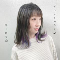 インナーカラー ガーリー ユニコーンカラー セミロング ヘアスタイルや髪型の写真・画像