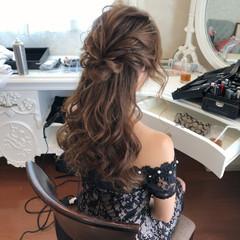二次会ヘア フェミニン ハーフアップ 結婚式 ヘアスタイルや髪型の写真・画像
