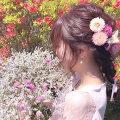 結婚式 ヘアアレンジ フェミニン セミロング ヘアスタイルや髪型の写真・画像