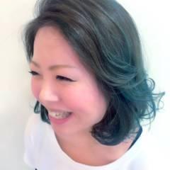 丸顔 外国人風 個性的 ミディアム ヘアスタイルや髪型の写真・画像