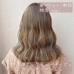 ピンクベージュ オリーブグレージュ ベージュ グレージュ ヘアスタイルや髪型の写真・画像