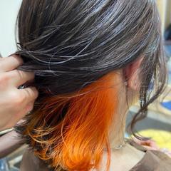 オレンジカラー ボブ オレンジ インナーカラーオレンジ ヘアスタイルや髪型の写真・画像
