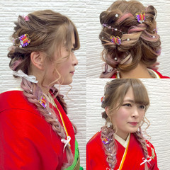 成人式 編み込み ガーリー ロング ヘアスタイルや髪型の写真・画像