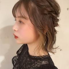 ナチュラル セルフヘアアレンジ ヘアアレンジ ボブ ヘアスタイルや髪型の写真・画像