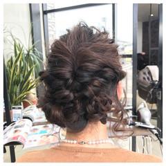 結婚式 ヘアアレンジ くるりんぱ セミロング ヘアスタイルや髪型の写真・画像