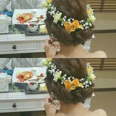 ヘアアレンジ ゆるふわ ブライダル ロング ヘアスタイルや髪型の写真・画像