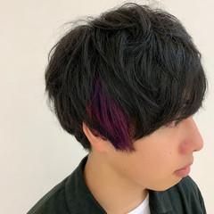 メンズヘア マッシュヘア ポイントカラー ショート ヘアスタイルや髪型の写真・画像