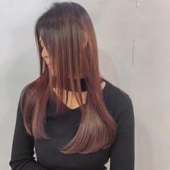 ピンクパープル ナチュラル バレイヤージュ 大人ハイライト ヘアスタイルや髪型の写真・画像