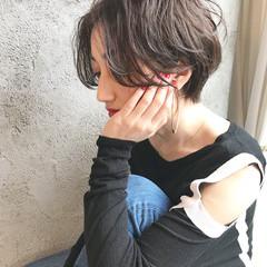 小顔 ショート マッシュ ナチュラル ヘアスタイルや髪型の写真・画像