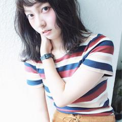 ミディアム 暗髪 アッシュ 冬 ヘアスタイルや髪型の写真・画像