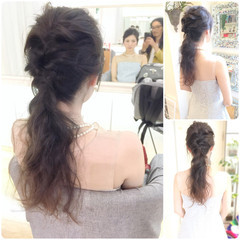 結婚式 ロング 編み込み 色気 ヘアスタイルや髪型の写真・画像