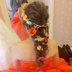 フェミニン ヘアアレンジ 結婚式 花 ヘアスタイルや髪型の写真・画像