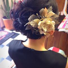 黒髪 ヘアアクセ ゆるふわ 結婚式 ヘアスタイルや髪型の写真・画像