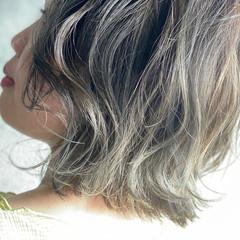 ボブ 3Dハイライト 濡れ髪スタイル ストリート ヘアスタイルや髪型の写真・画像