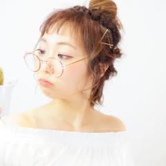 くるりんぱ ヘアアレンジ おフェロ シースルーバング ヘアスタイルや髪型の写真・画像