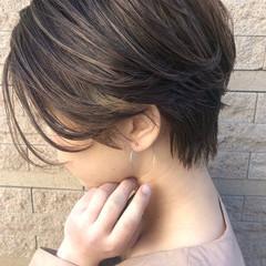 インナーカラー ハンサムショート ハイライト ショート ヘアスタイルや髪型の写真・画像