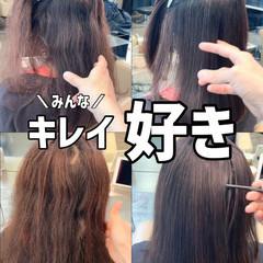ストレート グレージュ ブリーチなし 縮毛矯正 ヘアスタイルや髪型の写真・画像
