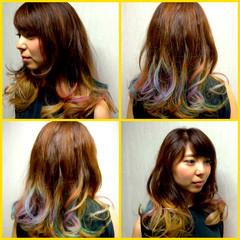 グラデーションカラー カラフルカラー ガーリー ハイトーン ヘアスタイルや髪型の写真・画像