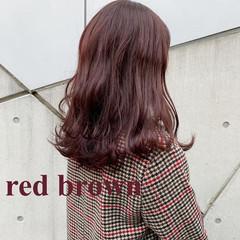エレガント レッドブラウン アプリコットオレンジ ミディアム ヘアスタイルや髪型の写真・画像