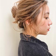 お団子アレンジ 透明感カラー 簡単ヘアアレンジ ボブ ヘアスタイルや髪型の写真・画像
