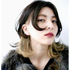 セミロング グラデーションカラー 黒髪 ストリート ヘアスタイルや髪型の写真・画像