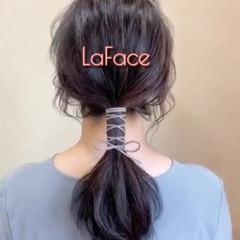フェミニン ポニーテール ロング 紐アレンジ ヘアスタイルや髪型の写真・画像