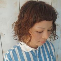 ボブ アッシュ パーマ ハイライト ヘアスタイルや髪型の写真・画像