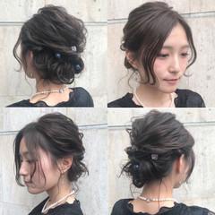 暗髪 結婚式 大人かわいい ヘアアレンジ ヘアスタイルや髪型の写真・画像