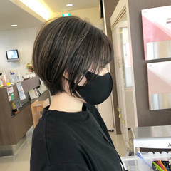 3Dハイライト ナチュラル 大人かわいい ショートボブ ヘアスタイルや髪型の写真・画像