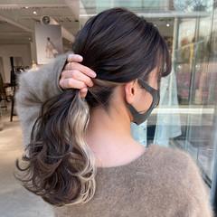 インナーカラー ロング ミルクティーベージュ インナーカラーホワイト ヘアスタイルや髪型の写真・画像