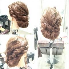 編み込み ねじり ヘアアレンジ まとめ髪 ヘアスタイルや髪型の写真・画像