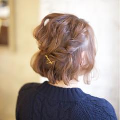 ショート ヘアアレンジ 簡単ヘアアレンジ ボブ ヘアスタイルや髪型の写真・画像