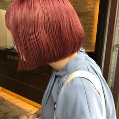 ミニボブ ナチュラル 透明感カラー ピンク ヘアスタイルや髪型の写真・画像