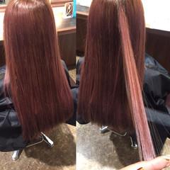 レッド ナチュラル ロング ピンク ヘアスタイルや髪型の写真・画像