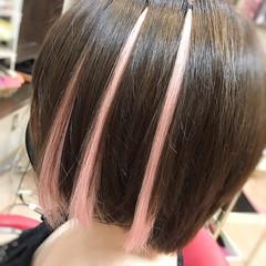 ハイライト 夏 ガーリー ピンク ヘアスタイルや髪型の写真・画像