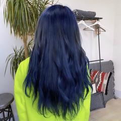 ハイトーン ギャル ブルー ロング ヘアスタイルや髪型の写真・画像