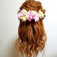 フェミニン ブライダル ゆるふわ セミロング ヘアスタイルや髪型の写真・画像