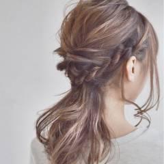 編み込み アップスタイル 三つ編み ヘアアレンジ ヘアスタイルや髪型の写真・画像