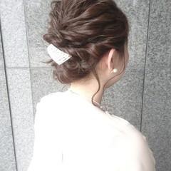 結婚式 フェミニン ゆるふわ こなれ感 ヘアスタイルや髪型の写真・画像