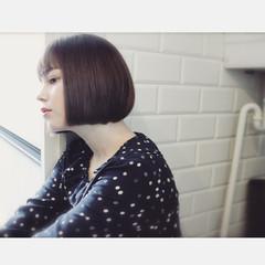 外国人風 大人女子 ニュアンス ボブ ヘアスタイルや髪型の写真・画像