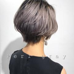 シルバー モード ホワイトシルバー ショート ヘアスタイルや髪型の写真・画像