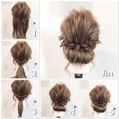 簡単ヘアアレンジ ヘアアレンジ セミロング ショート ヘアスタイルや髪型の写真・画像