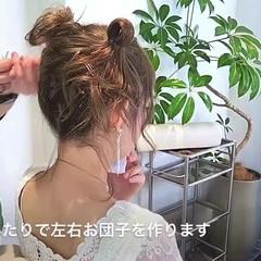 お団子 セミロング ヘアアレンジ ガーリー ヘアスタイルや髪型の写真・画像