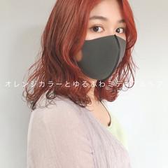 ミディアム オレンジブラウン ナチュラル アプリコットオレンジ ヘアスタイルや髪型の写真・画像