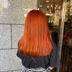ブラットオレンジ オレンジブラウン ワンカール ロング ヘアスタイルや髪型の写真・画像